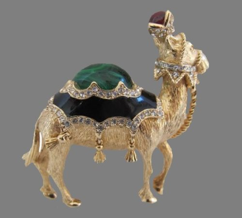 Vintage Ciner Jeweled and Enamel Camel Brooch