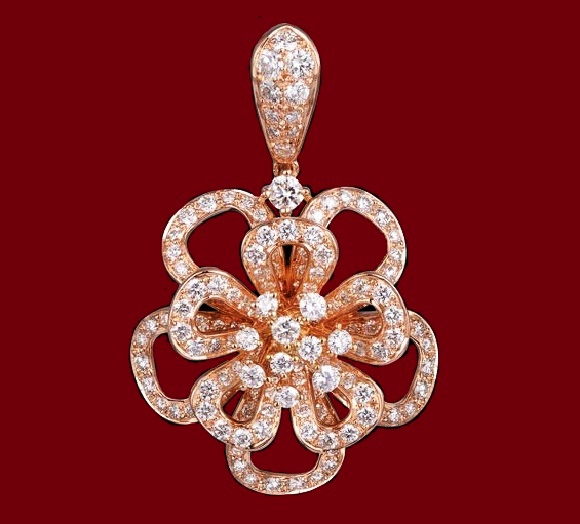All Diamond Floral Pendant