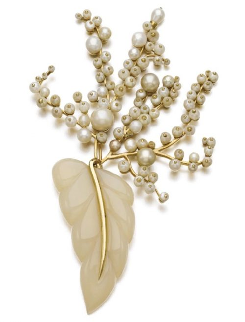 Cultured pearl, chalcedony, and natural pearl brooch, 1955