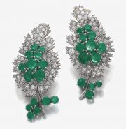 Emerald and diamond brooches, Suzanne Belperron, 1960s