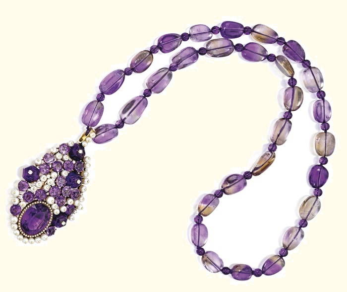 Gold, Amethyst, Pearl and Diamond Pendant-Necklace, The Pendant by Jean Herz - Suzanne Belperron