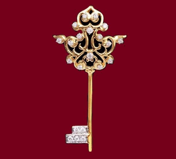 Key Pendant with Diamonds