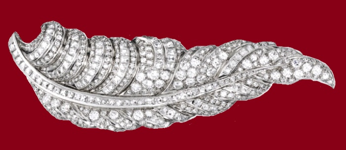 Platinum and Diamond 'Plume' Brooch