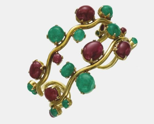 Ruby and emerald bangle, 'Vague', 1974