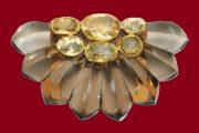 Smoky quartz, yellow sapphire and citrine brooch, 1935
