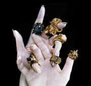 Gold and silver rings with stones of various colors. Work by English jeweler Gillian Packard