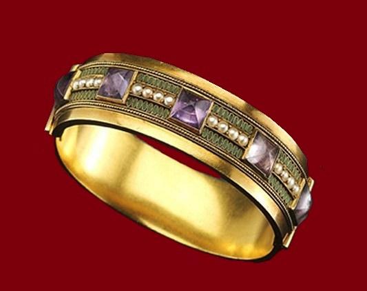 1890 bracelet. Amethysts, pearls, enamel, gold