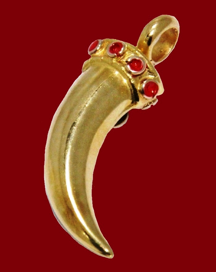 18K Yellow Gold horn pendant, red enamel