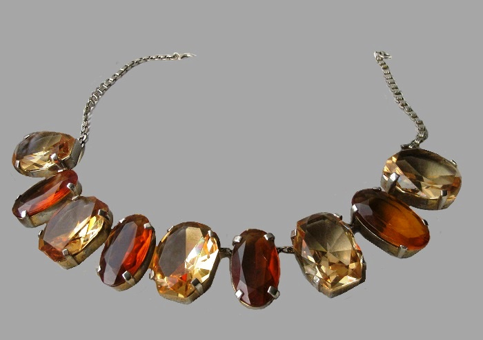 1940s necklace, colored stones