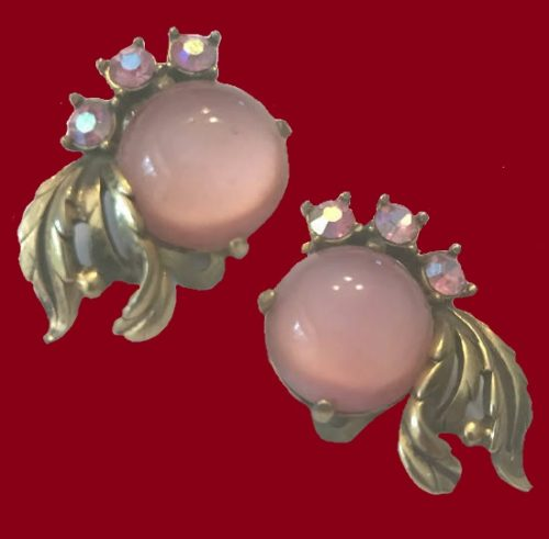 1950s Pink Moonglow Lucite Earring with AB Rhinestones, Elsa Schiaparelli vintage costume jewellery