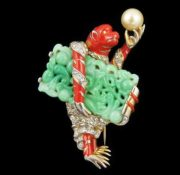 A monkey with a pearl. Enameled brooch 1942