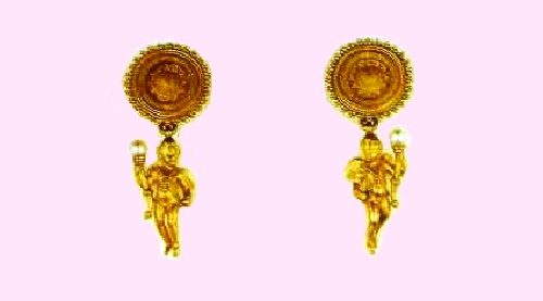A pair of dangling earrings of gold with pearls, signed 'C.G', in the Hellenistic style. 1870