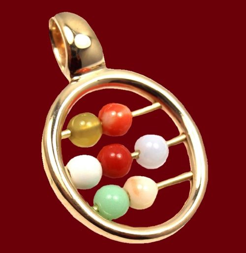Abacus Bead Pendant. 18k gold, coral and color agate beads