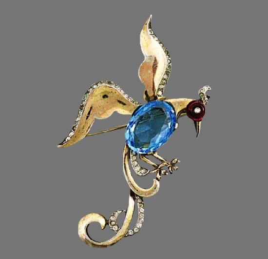 Aquamarine Bird of Paradise brooch. 1940s. Gold plated sterling silver, rhinestones. 8 cm