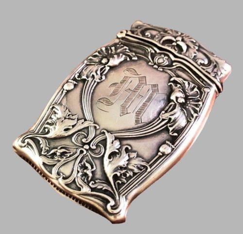 Art Nouveau Match Box Safe. Sterling Silver