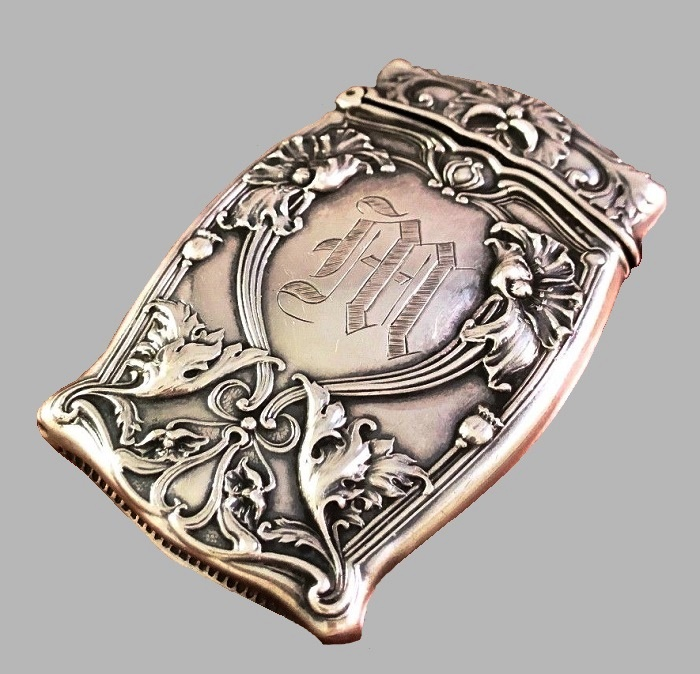 Art Nouveau Match Box Safe. Sterling Silver