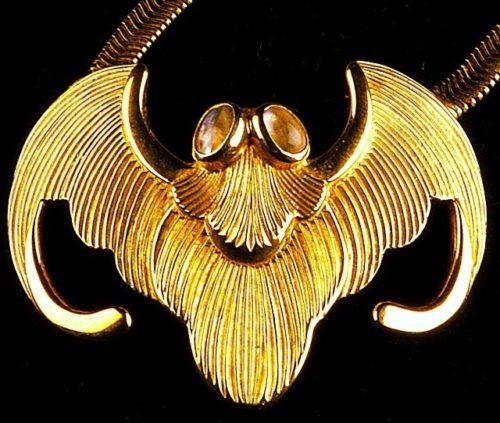 Bat silver brooch- necklace