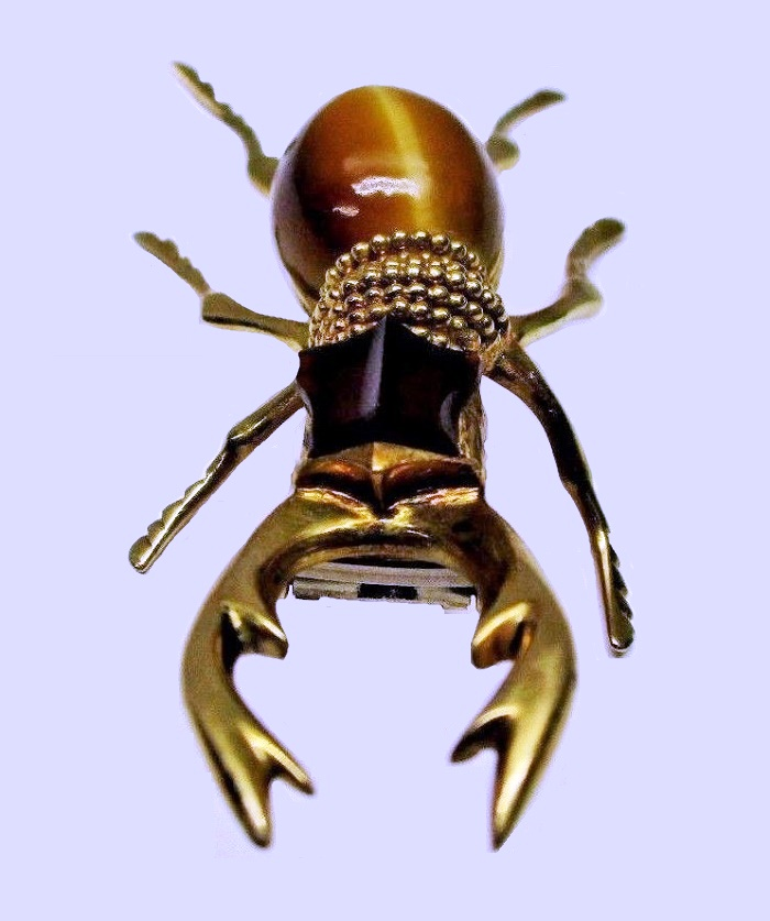 Beetle brooch, made of gold, inserts - Tiger Eye, Agate Cabochon (eyes)