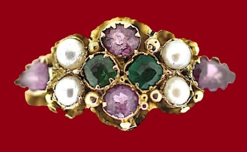 Birmingham ring worn by a representative of the Suffragette movement in Britain. Early 20th century Suffragette costume jewelry