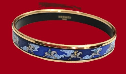 Blue, Gold Plated enameled bracelet