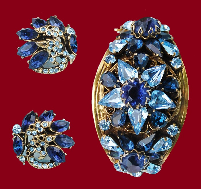 Blue Rhinestone Bracelet and earrings. 1952