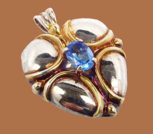 Blue Stone Heart sterling silver Pendant