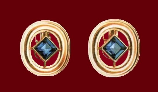 Blue earrings. Gilding, artificial sapphires in the form of rhombuses. 1980 3.75 cm. £ 20-45 LB