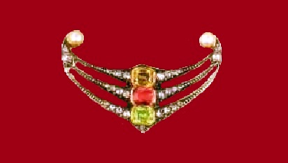 Brooch with pearls, diamonds, pink sapphire and zircons. Around 1890