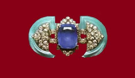 Brooch with sapphire, rhinestone and diamonds. 1925-1930