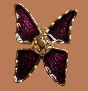 Butterfly brooch, gold tone metal, purple enamel