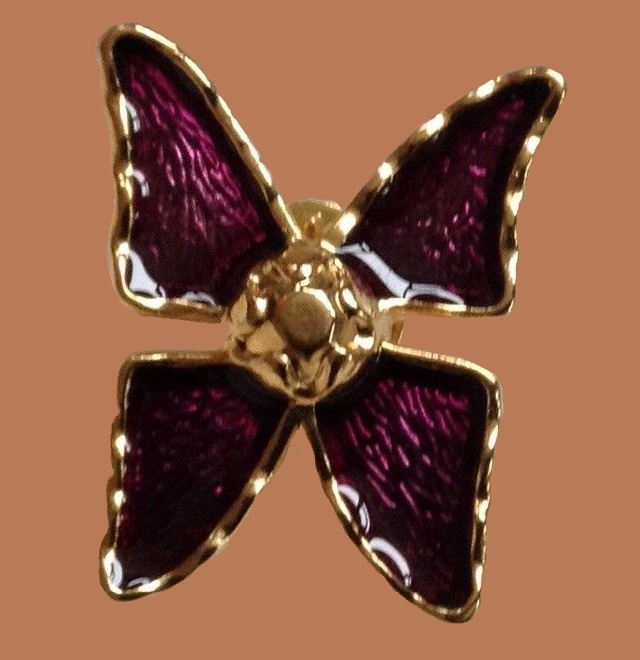 Butterfly brooch, gold tone metal, purple enamel