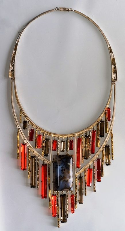 Christmas Evening, necklace. Metal, gilding, morion, rauchtopaz, moss agate, glass. Casting, forging, bending, soldering