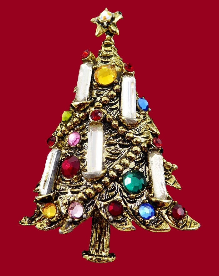 e004d4c7e Christmas Tree Brooch with Multi Colored Rhinestones & Baguette Candles  Signed Hollycraft Vintage 1950s