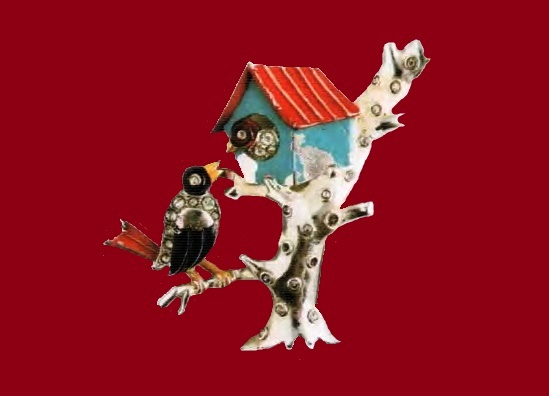 Crows in the tree brooch. Silver-coated metal, enamel, rock crystal. 1930's. d 5.75 cm. £ 200-335 ROX