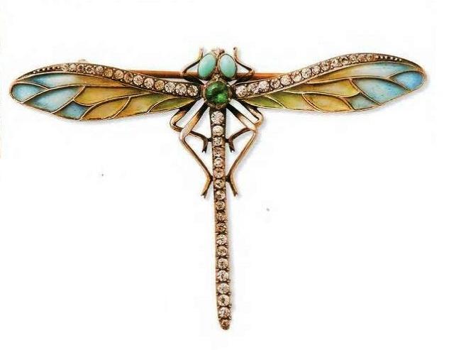 Dragonfly brooch. Turquoise cabochons, enamel, diamonds. 1900. £ 250-450 LYNN