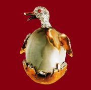 Duck in an egg Brooch from the collection of Jelly Belly. metal, gilding, rhinestone, coral cabochons. 1930's. 5 cm £ 735-865 TR