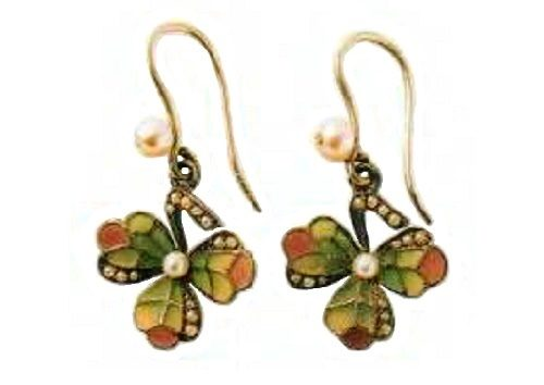 Earrings - metal, gilding, colored enamels, pearls. 1910. 3.75 cm £ 650-700 RBRG