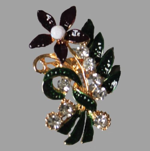 Edwardian style violet flower brooch with green leaves and white gemstones