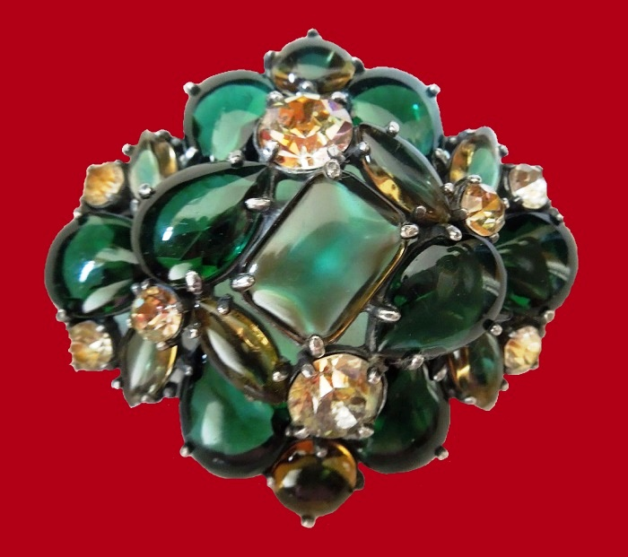 Emerald green brooch, aurora borealis rhinestone