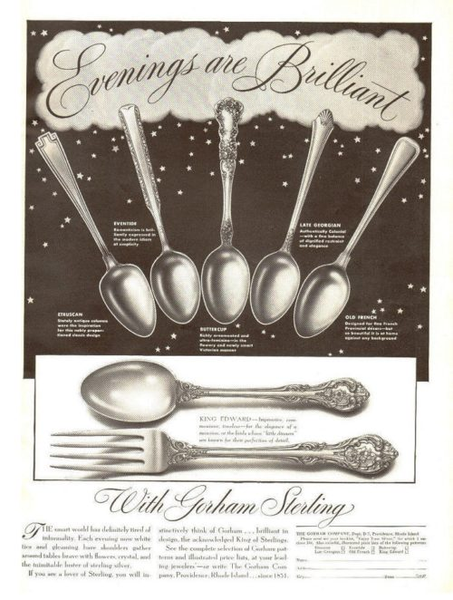 Evenings are brilliant with Gorham Sterling, vintage poster