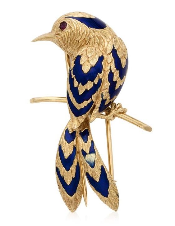Exotic bird brooch