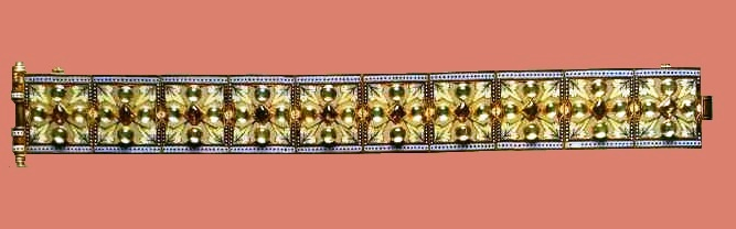 Exquisite gothic design gold bracelet with enamel, brown zircons and green beryls, signature 'C.G'. 1870