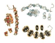 Exquisite vintage jewelry sets - brooch, bracelet and earrings