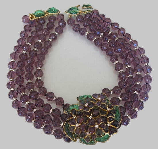 Fabulous nature inspired necklace, pate de verre, crystals. Vintage L'Atelier de Verre costume jewelry