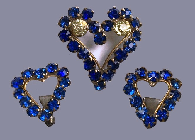 Fred A. Block 1930's Blue & Yellow Sterling Vermeil Brooches & Earrings