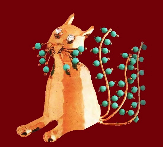 Funny cat, large brooch. Gold plated silver, artificial turquoise, rock crystal. 1940. 10 cm. £ 200-265. Fred A. Block inc vintage costume jewellery