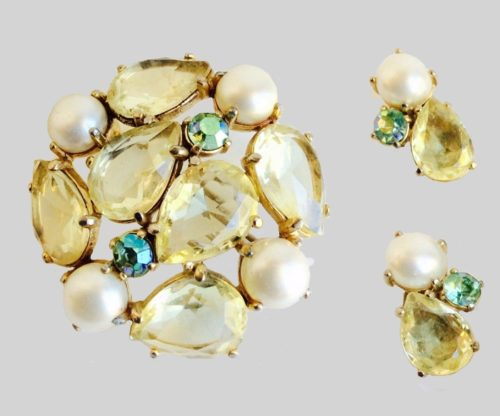 Gold Yellow Green Stone and Pearl brooch and earrings. 1950s