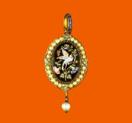 Gold pendant with enamel, pearls and diamonds. 1875-1880. On the reverse side, the signature 'C.G'