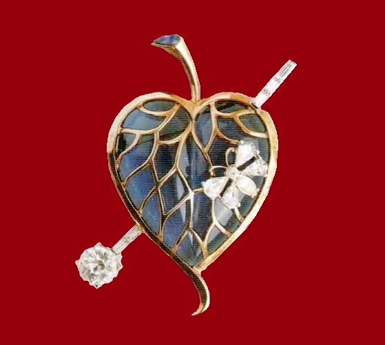 Heart brooch. Blue glass, gilded silver, rhodium-plated metal. 1940's. 7 cm £ 135-200 ROX