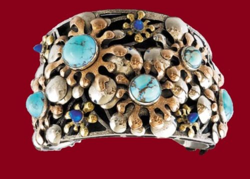 Indian summer bracelet. 1983. Melchior, copper, tombak, turquoise, lapis lazuli